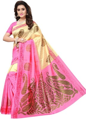 Saara Printed, Self Design Bhagalpuri Art Silk Saree(Beige, Pink)