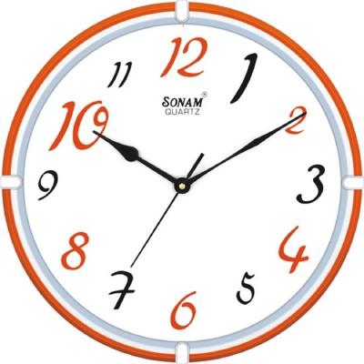 Sonam Quartz Analog Wall Clock(Orange, With Glass)
