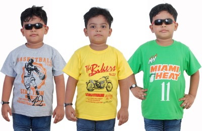 WE CAN Boy's Printed Cotton T Shirt(Grey, Pack of 3)