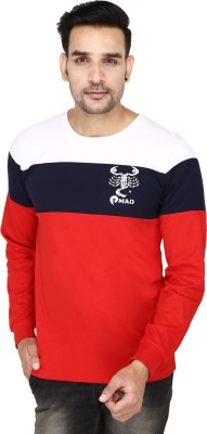 TMAD Solid Men Round Neck Red, White, Dark Blue T-Shirt