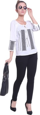 Fascination Casual 3/4th Sleeve Embroidered, Solid Women