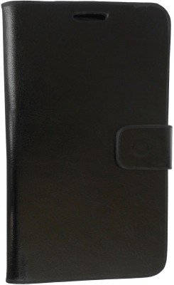 G-case Flip Cover for Intex Aqua 4.5E(Black, Grip Case, Artificial Leather)
