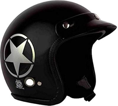 AutoVHPR O2 Matt Black Star Dashing ISI Certified Open Face Helmet Motorbike Helmet(Black)