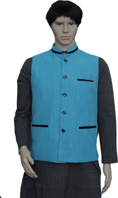 PUNEKAR COTTON KHADI Half Sleeve Solid Men's Jacket