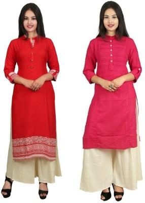 Kachhadiya Creation Women Printed Straight Kurta(Pink)