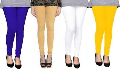 Swastik Stuffs Churidar  Legging(Light Blue, White, Beige, Yellow, Solid)