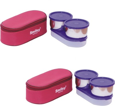 Smiley Combo 3 in 1 Maroon Lunch Box 4 Steel Containers & 2 Plastics Chapati Tray 6 Containers Lunch Box(1300 ml)