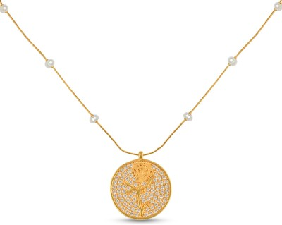 P.N.Gadgil Jewellers Circular Rose 22kt Cubic Zirconia Yellow Gold Pendant