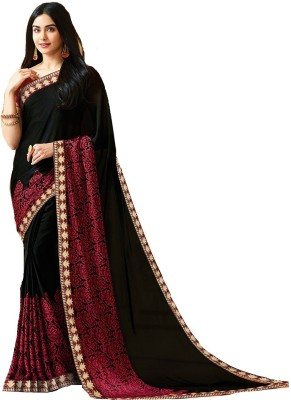 Shoppershopee Printed Fashion Faux Georgette, Synthetic Crepe Saree(Black)