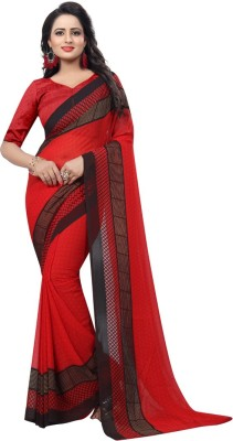 The Fashion Outlets Printed Daily Wear Chiffon, Faux Georgette Saree(Green, Maroon)