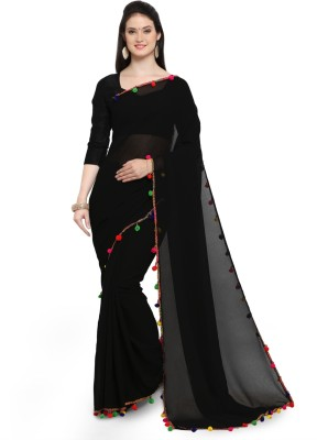 The Fashion Outlets Self Design Bollywood Chiffon Saree(Black)