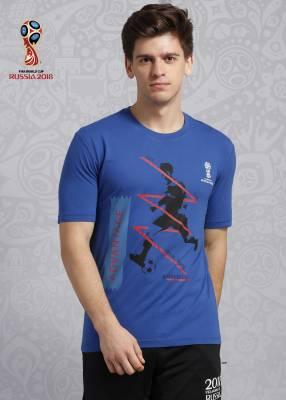 FIFA Graphic Print Men's Round Neck Blue T-Shirt