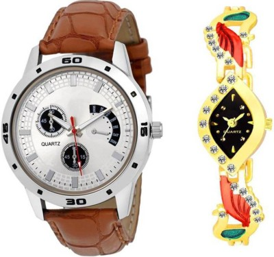 Varni Retail Stunning Brown Chronograph Men and Diamond Peacock Women Combo Watch For Couple Watch  - For Men & Women