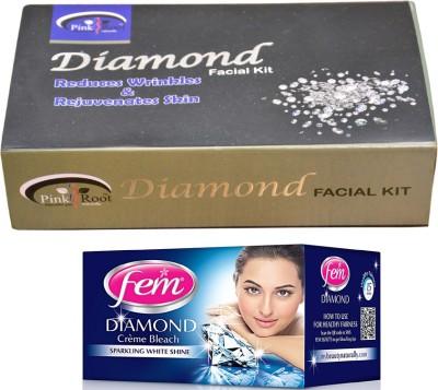 Pink Root Diamond Facial Kit 83gm and Fem Diamond Bleach(Set of 2)