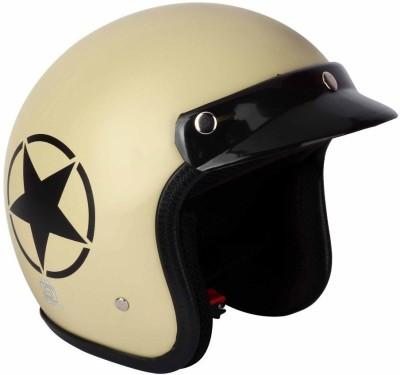 AutoVHPR O2 Khaki Star ISI Certified Dashing Open Face Helmet Motorbike Helmet(Brown)