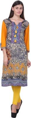 Pihu Creations Women Floral Print Straight Kurta(Grey, Orange)