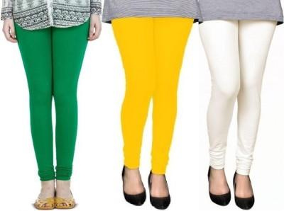 Swastik Stuffs Churidar  Legging(Green, White, Yellow, Solid)
