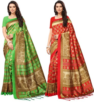 Indianbeauty Printed Mysore Art Silk Saree(Pack of 2, Multicolor)