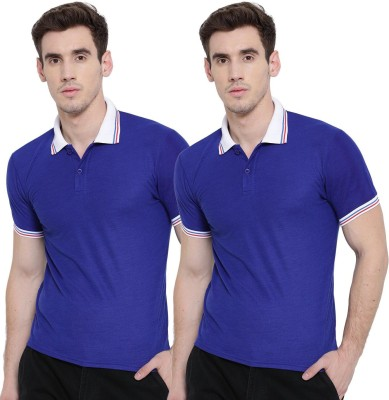 TSX Striped, Solid Men Polo Neck Blue T-Shirt(Pack of 2)