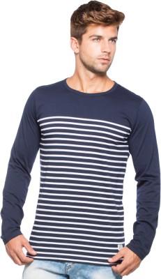 Alan Jones Striped Men Round Neck Dark Blue T-Shirt
