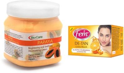 Biocare Papaya Cream 500ml and Fem De-Tan Crème Bleach 30g(Set of 2)