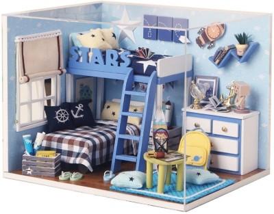 KADAM Star Trek Starry Sky Adventure Dollhouse Miniature DIY House Kit Creative Room With Furniture & Accessories -(Blue)