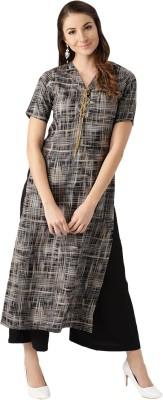 Aurelia Women Self Design Straight Kurta(Black)