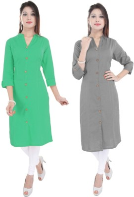 Fab Attire Casual Solid Women Kurti(Pack of 2, Yellow, Light Blue)