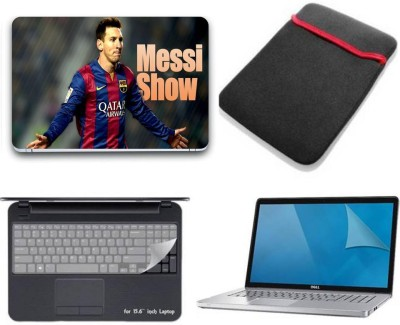 Gallery 83 ® messi show wallpaper 4 in 1 combo pack with laptop skin sticker decal, laptop sleeve pouch, key guard, Screen protector all are laptop 15.6 inch Combo Set 3114 vinyl Laptop Decal 15.6 Combo Set(Multicolor)