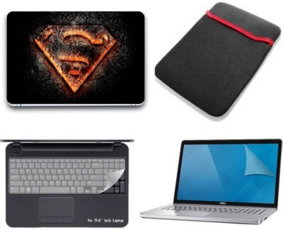 Gallery 83 ® superman wallpaper wallpaper 4 in 1 combo pack with laptop skin sticker decal, laptop sleeve pouch, key guard, Screen protector all are laptop 15.6 inch Combo Set 3204 vinyl Laptop Decal 15.6 Combo Set(Multicolor)