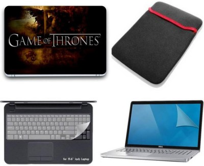 Gallery 83 game of thrones wallpaper 4 in 1 combo pack with laptop skin sticker decal, laptop sleeve pouch, key guard, Screen protector all are laptop 15.6 inch Combo Set 3496 vinyl Laptop Decal 15.6 Combo Set(Multicolor)