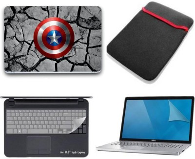 Gallery 83 camptain america shield wallpaper 4 in 1 combo pack with laptop skin sticker decal, laptop sleeve pouch, key guard, Screen protector all are laptop 15.6 inch Combo Set 3369 vinyl Laptop Decal 15.6 Combo Set(Multicolor)