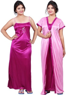 TRUNDZ Women Nighty with Robe(Maroon, Purple)