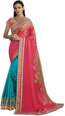 Availkart Self Design Fashion Faux Georgette, Tussar Silk Saree(Pink, Light Blue)