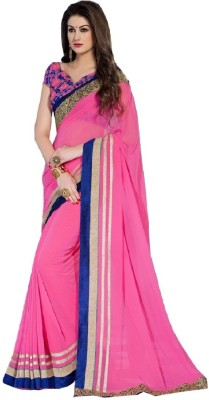 Availkart Self Design Fashion Faux Georgette, Dupion Silk Saree(Pink)