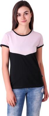 Fabx Solid Women Round Neck Black, Pink T Shirt
