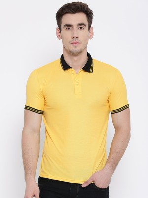 TSX Solid Men Polo Neck Yellow T-Shirt