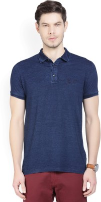 French Connection Solid Men Polo Neck Dark Blue T-Shirt