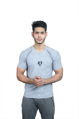 Jacked Wolf Printed Men Round Neck Grey T-Shirt Flipkart