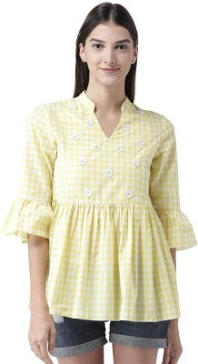 The Vanca Casual Bell Sleeve Checkered Women Yellow Top