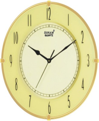 Sonam Quartz Analog Wall Clock(Yellow, With Glass)