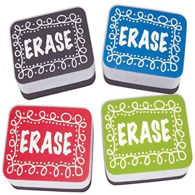 """Generic Ashley Productions Chalk Loop Non-Magnetic Mini Whiteboard Eraser (10 Pack), 2\"""" x 1.5\"""" x .75\"""""""