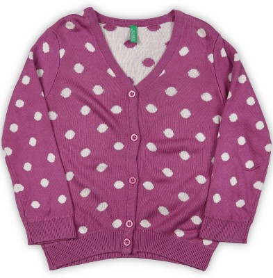 United Colors of Benetton Baby Girls Button Polka Print Cardigan