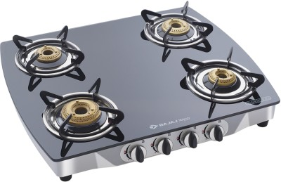 Bajaj ( CGX10 ) 4 Burner Glass Manual Gas Stove(4 Burners)