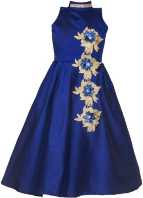 Bolly Lounge Girls Maxi/Full Length Party Dress(Blue, Sleeveless)