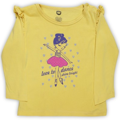 Baby League Baby Girls Casual Cotton Blend Top(Yellow, Pack of 1) at flipkart
