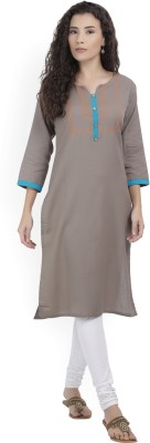 Blezza Casual Solid Women Kurti(Pack of 3, Light Blue, Grey, Blue)