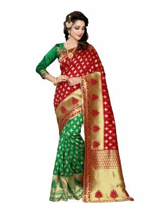 Pehnava Woven Banarasi Polycotton, Jacquard Saree(Red, Green, Beige) Flipkart