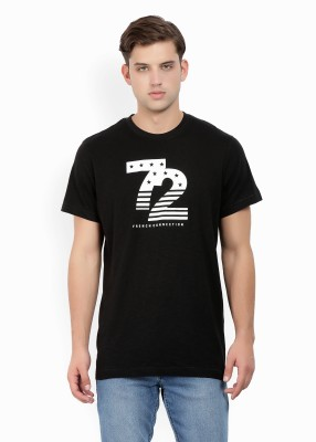 French Connection Printed Men Round or Crew Black T-Shirt at flipkart