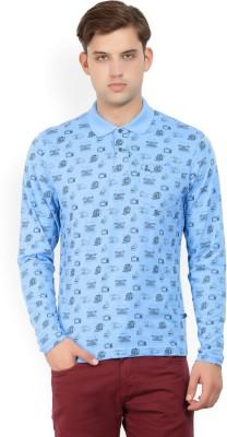 Parx Printed Men Polo Neck Light Blue T-Shirt